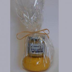 Kaasje met mosterd in Cadeaufolie - kaaskado bestellen - www.NoordHollandseBoerenKaas.nl
