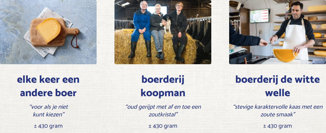 Kies je boerenkaas - BoerenKaas door de brievenbus - kaas laten bezorgen - oude kaas bestellen bij DeFirmaKaas - www.NoordHollandseBoerenkaas.nl